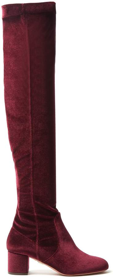 Aquazzura Essence 50 velvet over-the-knee boots