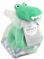 Carter's Alligator Plush Bath Toy & Washcloth Gift Set - Blue