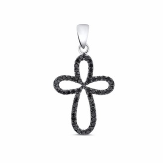 Cosanuova Diamond Cross Pendant 14k White Gold