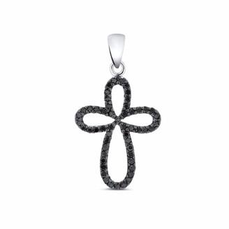 Diamond Cross Pendant 14k White Gold