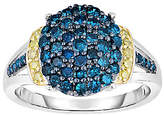Affinity Diamond Jewelry Blue & Yellow Diamond Ring, 1.00cttw, Sterling,by Affinity