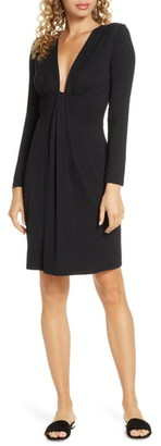 Fraiche by J Plunge Neck Long Sleeve Knit Dress