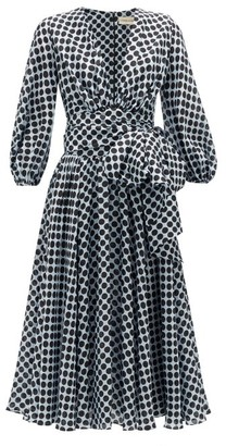 Alexandre Vauthier Tie-waist Dot-print Silk Midi Dress - Blue White