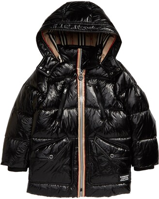 Burberry Kids' Kaison Icon Stripe Down Puffer Coat