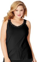 Just My Size Plus Size Jersey Lace Trim Tank