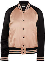 Saint Laurent Two-tone Satin Bomber Jacket - Blush