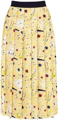 Victoria Victoria Beckham Yellow Printed Midi Skirt
