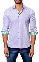 Jared Lang Men's Trim Fit Jacquard Sport Shirt
