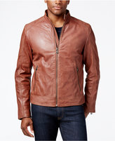 Cole Haan Men's Quilted-Shoulder Leather Moto Jacket