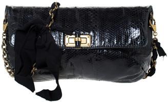 Lanvin Black Snakeskin Effect Patent Leather Happy Flap Shoulder Bag