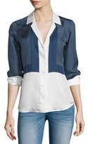 Equipment Adalyn Button-Front Shirt, Peacoat/Bright White