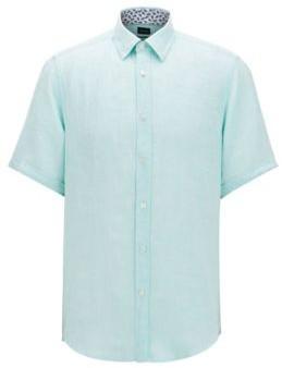 HUGO BOSS Regular Fit Shirt In Linen Chambray - Light Green