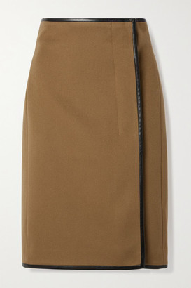 Saint Laurent Leather-trimmed Wool And Cashmere-blend Wrap Skirt - Camel