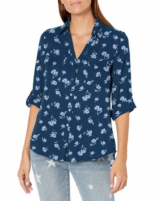 Amy Byer A. Byer Women's Button Down Top with Roll-Tab Sleeves (Junior's)