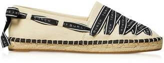 Tory Burch Signature Grosgrain Cream And Black Espadrilles