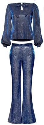 Hasanova Royal Bleu Sparkles Shirt & Trousers Set
