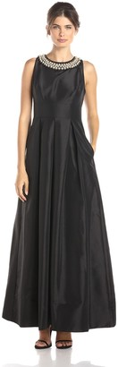 Sangria Women's Pearl Necklace Taffeta Evening Gown with Pockets