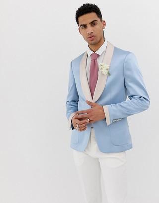 Asos Design DESIGN wedding skinny blazer in blue with satin lapel