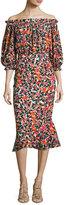 Saloni Grace Floral-Print Silk Midi Dress