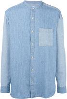 Closed mandarin neck denim shirt - men - Cotton/Linen/Flax/Lyocell - L