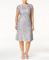 Alex Evenings Plus Size Tea-Length Rosette Dress