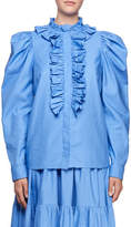 Stella McCartney Shaylee High-Neck Puffy-Sleeve Cotton Blouse with Frills