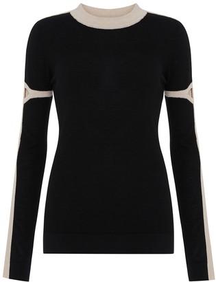 Amanda Wakeley Slim Fit Jumper Cashmere Black Multi (black-camel)