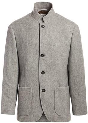 Brunello Cucinelli Single-Breasted Wool Mandarin Collar Blazer