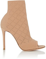 Gianvito Rossi Women's Perforated Knit Ankle Booties-PINK