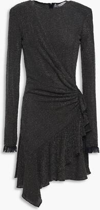Philosophy di Lorenzo Serafini Draped Ruffed Metallic Textured-jersey Mini Dress