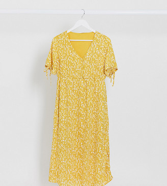 Mama Licious Mamalicious Maternity tea dress with v neck and tie sleeves in yellow floral