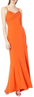 Adrianna Papell Pleated Mermaid Gown (Neon Tangerine) Women's Dress