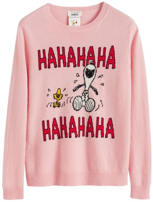Chinti and Parker Pink Laughing Snoopy Cashmere-wool Sweater