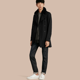 Burberry Shearling Topcollar Cotton Gabardine Trench Coat With Warmer , Size: 44, Black