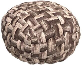 Harkaari Basket Weave Velvet Pouf