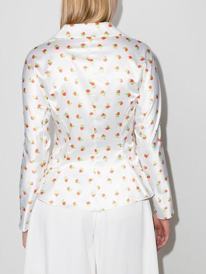 Thumbnail for your product : yuhan wang Rose-Print Long-Sleeve Blouse