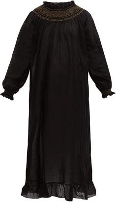 Loretta Caponi - Smocked Swiss-dot Cotton-poplin Dress - Womens - Black