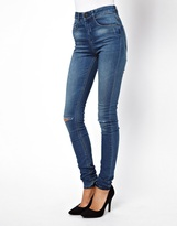Asos Ridley Mid Stonewash Super Soft Ultra Skinny Jeans with Ripped Knee