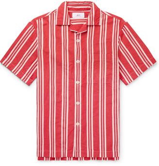Mr P. Camp-Collar Striped Cotton And Linen-Blend Shirt