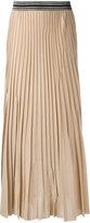 Nude elasticated waistband pleated skirt