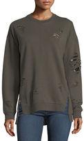 Joe's Jeans Lyndon Distressed Crewneck Pullover Sweatshirt w/ Zip Hem