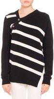Proenza Schouler Striped Asymmetric Pullover Sweater, Black/White