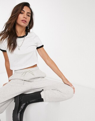 Topshop piped edge T-shirt in white & black