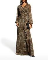 Thumbnail for your product : Rickie Freeman For Teri Jon Animal-Print Chiffon Side-Drape Gown