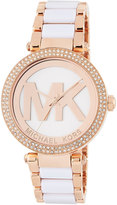 MICHAEL Michael Kors 39mm Parker Glitz Bracelet Watch, Rose Golden/White