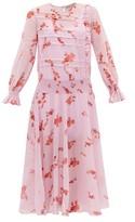 Preen Line Gilda Shirred Floral-print Crepe Dress - Womens - Pink Multi