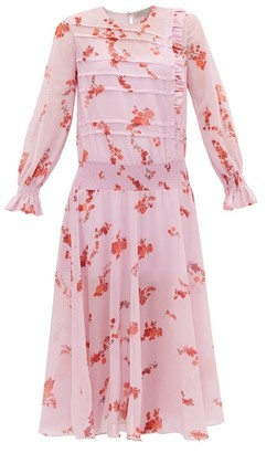 Preen Line Gilda Shirred Floral-print Crepe Dress - Pink Multi