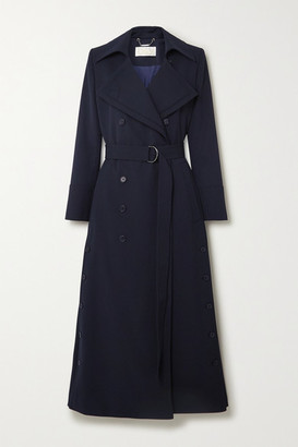 Chloé Belted Double-breasted Twill Coat - Navy