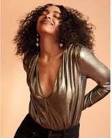 Express long sleeve deep v metallic thong bodysuit