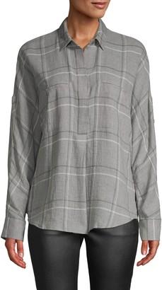 Vince Bar Plaid Popover Shirt